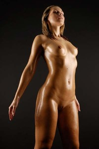 Model Jenni in Do you like her sexy oiled body